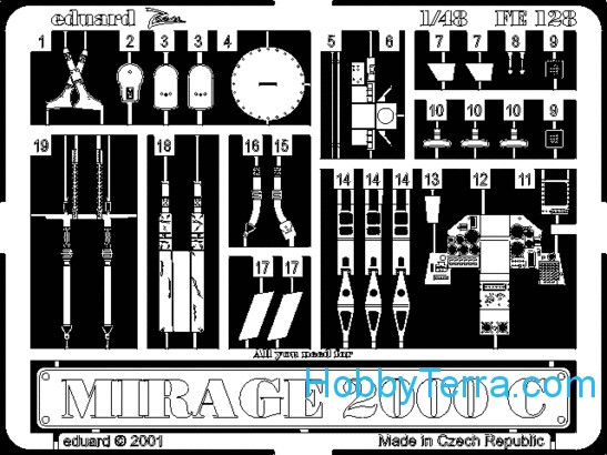 Photo-etched set 1/48 Mirage 2000C, for Revell kit