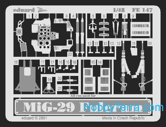 Photo-etched set 1/48 MiG-29A Fulcrum, for Academy kit