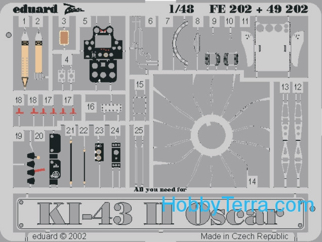 Photo-etched set 1/48 Ki-43 II Oscar Color, for Hasegawa kit