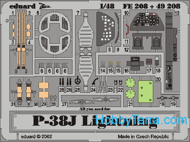 Eduard  FE208 Photo-etched set 1/48 P-38J Color, for Hasegawa kit
