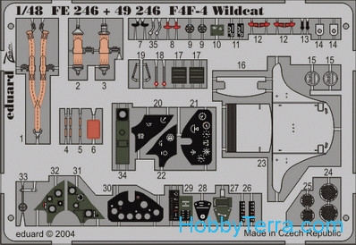 Photo-etched set 1/48 F4F-4 Wildcat, for Tamiya kit