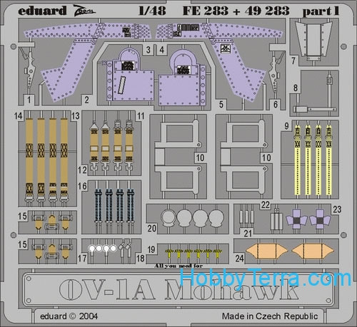Eduard  FE283 Photo-etched set 1/48 OV-1A Mohawk Color, for Roden kit