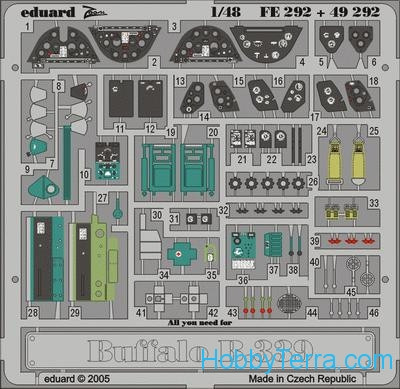 Photo-etched set 1/48 Buffalo Model339, for Tamiya kit
