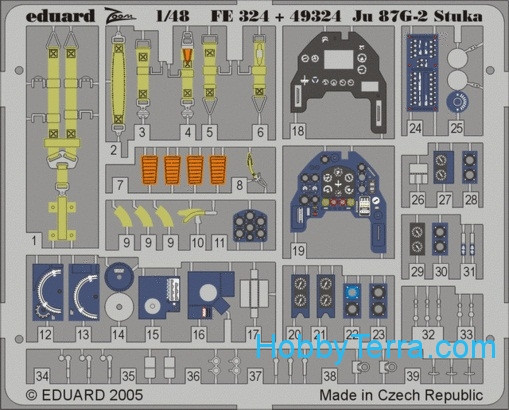 Photo-etched set 1/48 Ju 87G-2 Stuka Color, for Hasegawa kit
