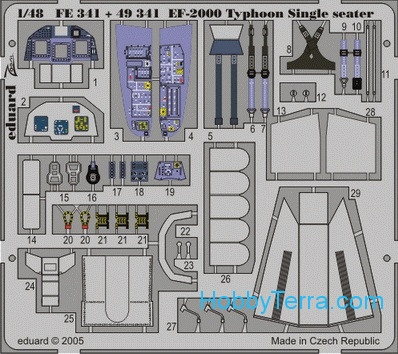 Eduard  FE341 Photo-etched set 1/48 EF-2000 Typhoon Single Seater Color, for Italeri kit