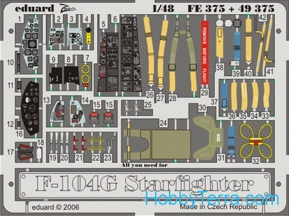 Photo-etched set 1/48 F-104G Starfighter self adhesive, for Hasegawa kit