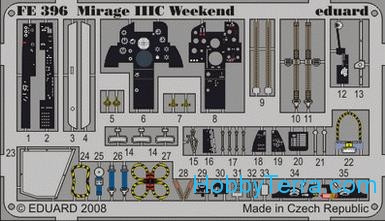 Eduard  FE396 Photo-etched set 1/48 Mirage IIIC interior Color, Weekend Eduard