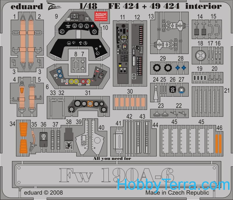 Photoetched set 1/48 Fw 190A-6 interior (self adhesive)