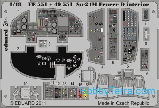 Eduard  FE551 Photo-etched set 1/48 Su-24M Fencer D interior Color, for Trumpeter kit