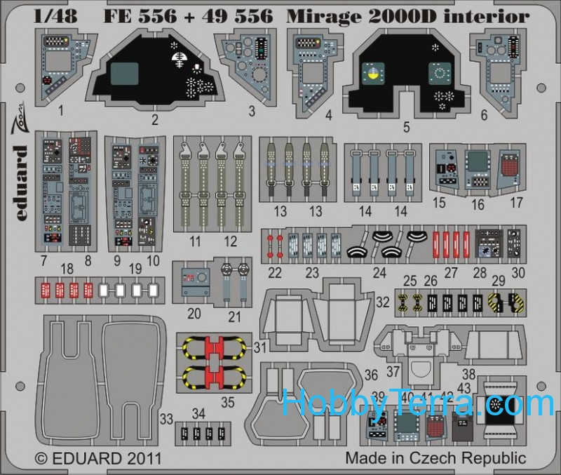 Photo-etched set 1/48 Mirage 2000D interior, for Kinetic Model kit
