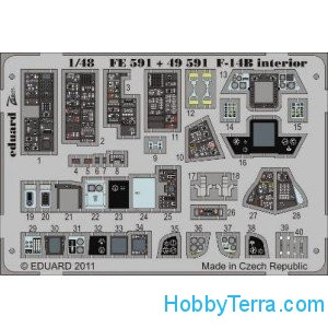 Eduard  FE591 Photo-etched set 1/48 F-14B interior (self adhesive), for HobbyBoss kit