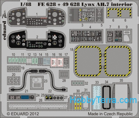 Eduard  FE628 Photo-etched set 1/48 Lynx AH.7 interior Color, for Airfix kit
