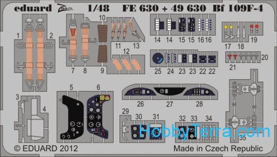 Photo-etched set 1/48 Bf 109F-4 Color, for Zvezda kit