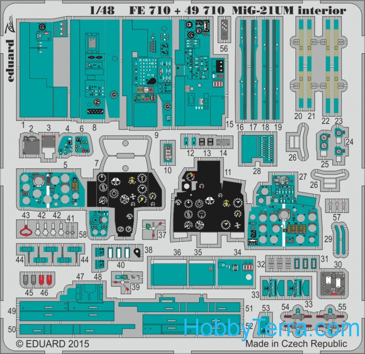 Photo-etched set 1/48 MiG-21UM interior S.A., for Trumpeter kit