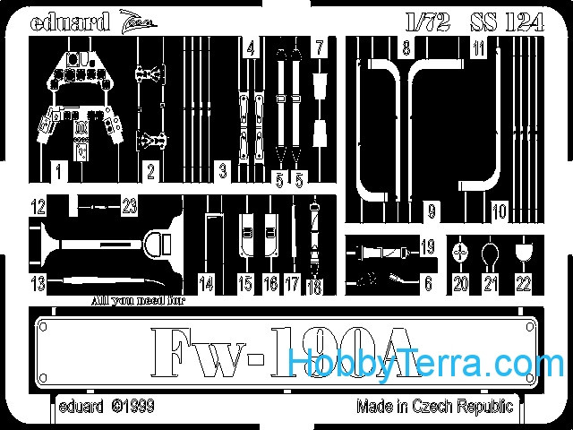 Photo-etched set 1/72 Fw-190A, for Revell kit