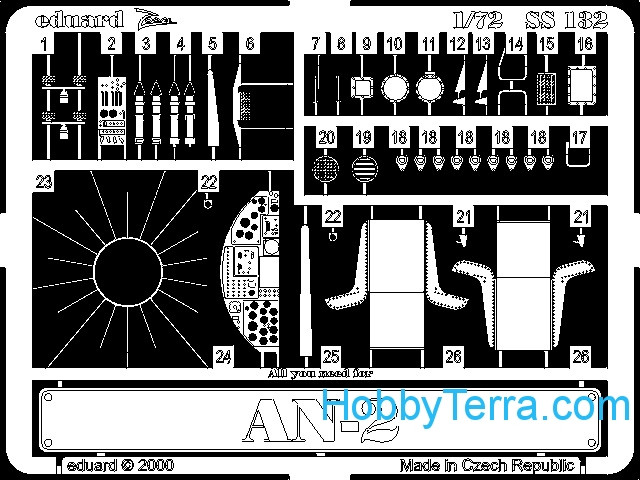 Photo-etched set 1/72 An-2, for Italeri kit