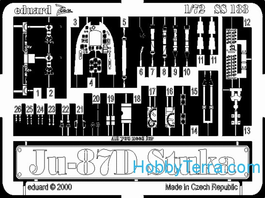 Eduard  SS133 Photo-etched set 1/72 Ju-87D/G, for Italeri kit