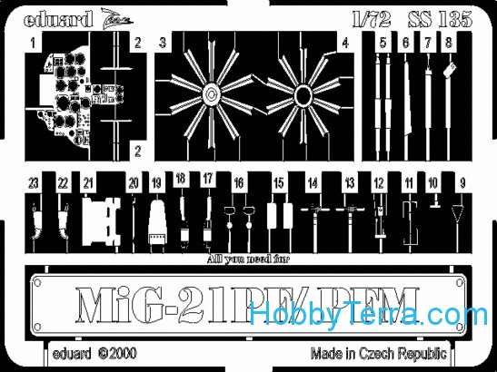 Photo-etched set 1/72 MiG-21PF/PFM, for Bilek kit