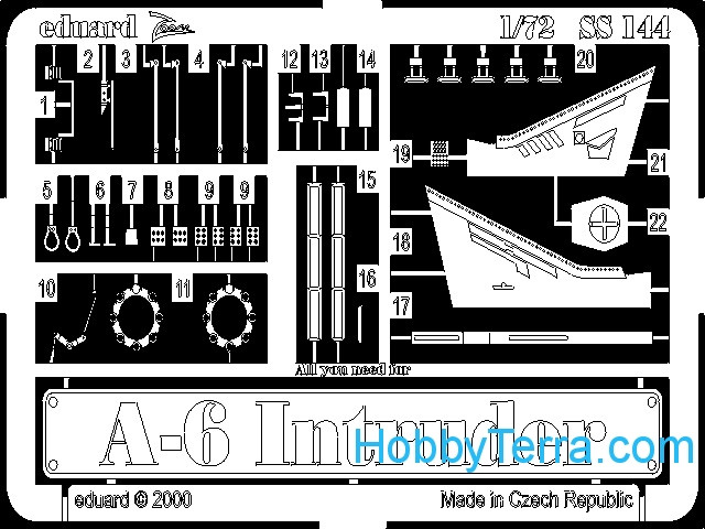 Eduard  SS144 Photo-etched set 1/72 A-6 Intruder, for Italeri kit
