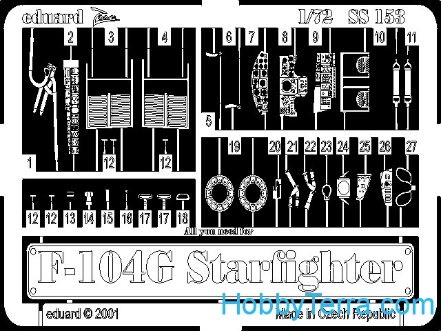 Photoetched set 1/72 F-104G Starfighter