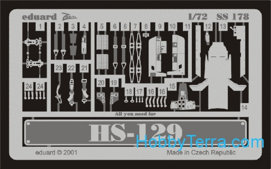 Eduard  SS178 Photo-etched set 1/72 Hs-129, for Italeri kit
