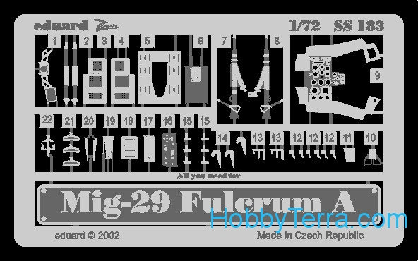 Photo-etched set 1/72 MiG-29 Fulcrum A, for Italeri kit