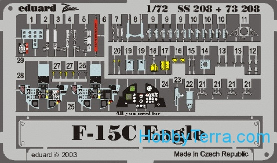 Photo-etched set 1/72 F-15C Eagle Color, for Hasegawa kit