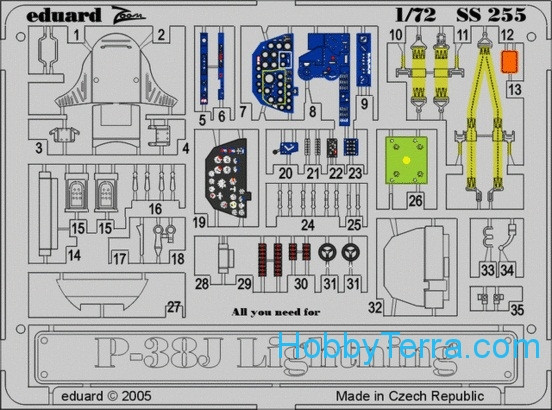 Photo-etched set 1/72 P-38J Lightning Color, for Academy kit
