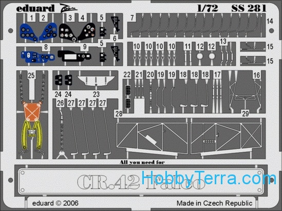 Photo-etched set 1/72 Fiat CR 42 Falco Color, for Italeri kit