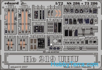 Eduard  SS286 Photo-etched set 1/72 He 219 UHU self adhesive, for Dragon kit