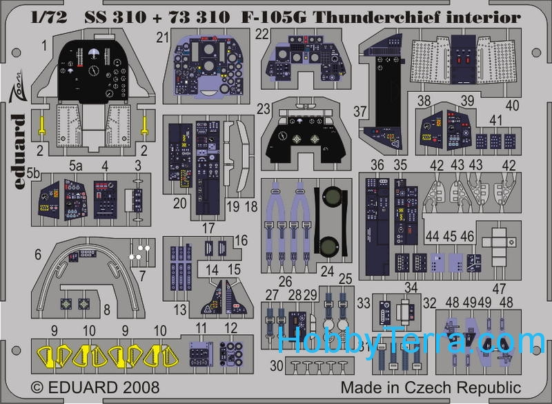Photo-etched set 1/72 F-105G Thunderchie interior Color, for Trumpeter kit