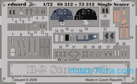 Photo-etched set 1/72 Il-2 Sturmovik Color, for Academy kit