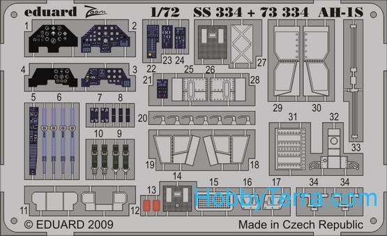 Eduard  SS334 Photo-etched set 1/72 AH-1S Color, for HobbyBoss kit