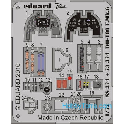 Eduard  SS374 Photo-etched set 1/72 DH-100 F.Mk.6 Color, for Amodel kit