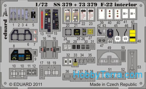 Photo-etched set 1/72 F-22 interior, for Fujimi