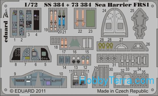 Photo-etched set 1/72 Sea Harrier FRS1 Color, for Airfix kit