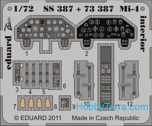 Photo-etched set 1/72 Mi-4 interior, for Hobbyboss kit