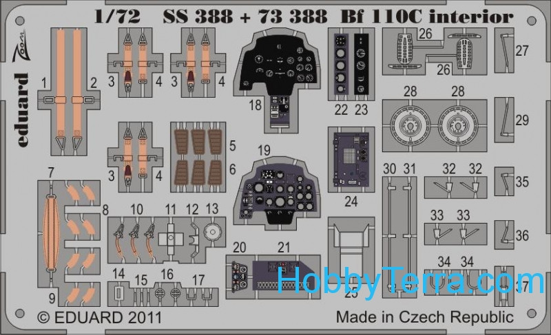 Eduard  SS 388 Photo-etched set 1/72 Bf 110C interior (self adhesive), for Airfix kit