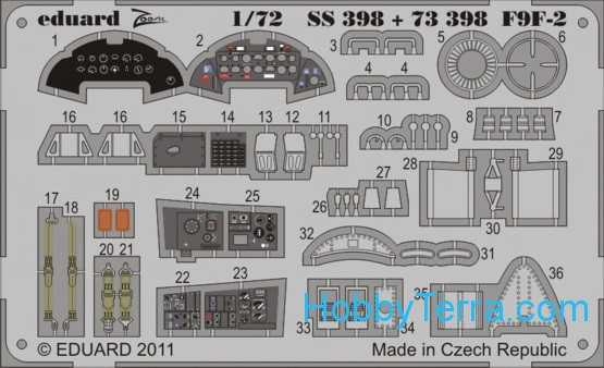 Photo-etched set 1/72 F9F-2 Panter Color, for HobbyBoss kit