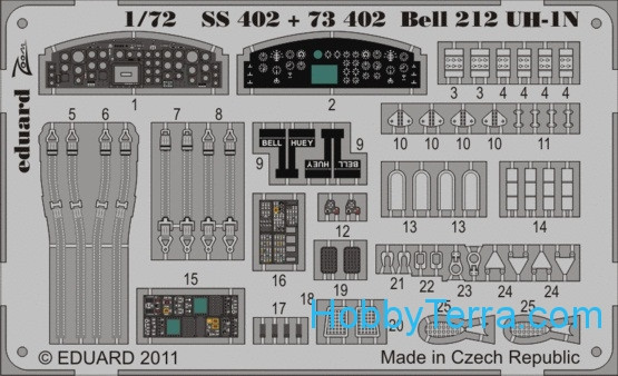 Photo-etched set 1/72 212 UH-1N Color, for Revell kit