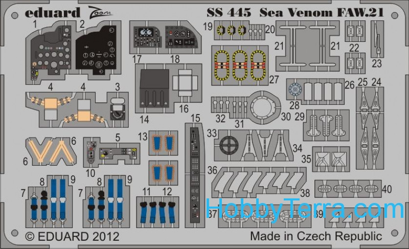 Eduard  SS 445 Photo-etched set 1/72 Sea Venom FAW.21 (self adhesive), for CyberHobby kit