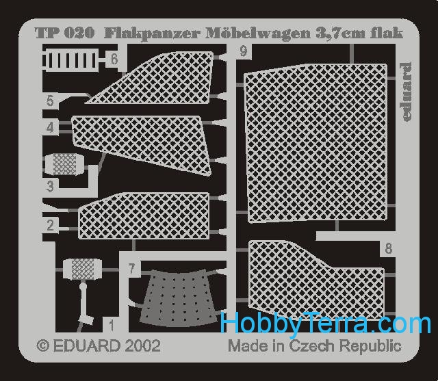 Photo-etched set 1/35 Flakpanzer IV Mobelwagen 37mm, for Tamiya kit