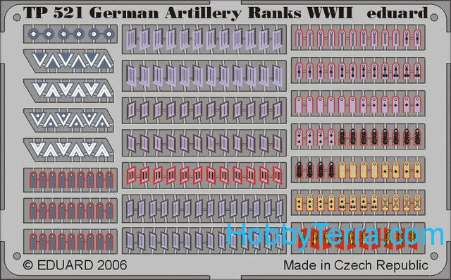 Photo-etched set 1/35 German artillery ranks WWII
