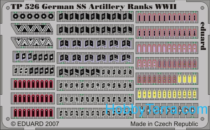 Photo-etched set 1/35 WWII German SS Artillery rank badges