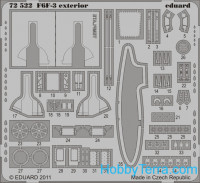 Photo-etched set 1/72 F6F-3 exterior, for Eduard kit