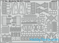 Photo-etched set 1/72 Blenheim Mk.IVF exterior, for Airfix kit