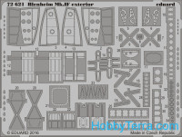 Photo-etched set 1/72 Blenheim Mk.IF exterior, for Airfix kit