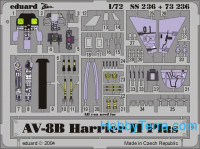 Photo-etched set 1/72 AV-8B Harrier II Plus, for Hasegawa kit