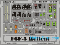 Photo-etched set 1/48 F6F-5 Hellcat Color, for Hasegawa kit