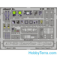 Photo-etched set 1/48 AV-8B Harrier II Plus, for Hasegawa kit